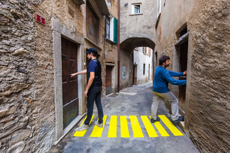 open doors: concept, crosswalks in the alley