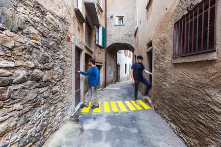 cross road: concept, crosswalks in the alley