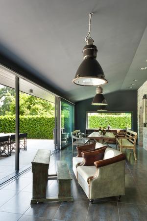 veranda: Interior, modern house, dining room. vintage furniture