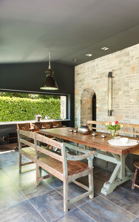lifestyle dining: Interior, modern house, dining room. rustic furniture