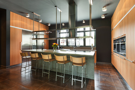 dark interior: interior modern house, beautiful kitchen Stock Photo