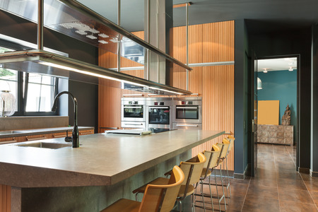 case moderne: interno casa moderna, bella cucina Archivio Fotografico