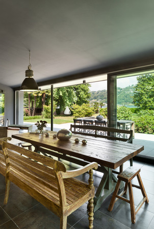table: Interior, modern house, dining room. rustic furniture