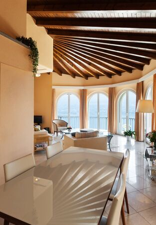 in ceiling: house interior, comfortable living room in classic style