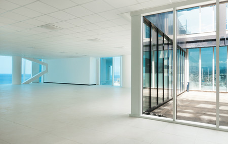 home office interior: Interior, glass wall in the office building Stock Photo