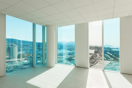 big window: Interior, glass wall in the office building Stock Photo