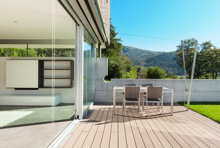 outside outdoor outdoors exterior: Architecture, modern house, outdoor, view from veranda