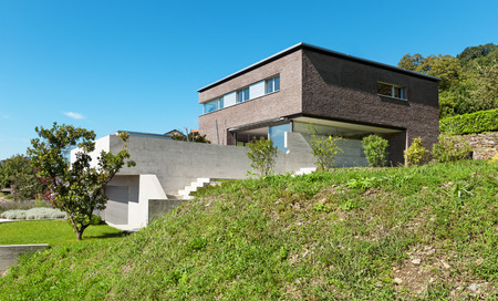 case moderne: Architettura design moderno, casa di mattoni, all'aperto Archivio Fotografico