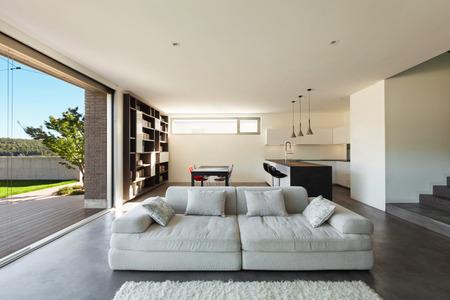 Architettura design moderno, interni, soggiorno con cucina Archivio Fotografico