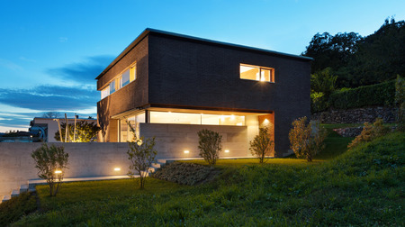 empty house: Architecture modern design, beautiful house, night scene Stock Photo