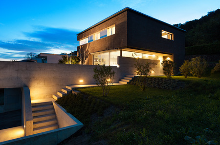 outside of house: Architecture modern design, beautiful house, night scene Stock Photo