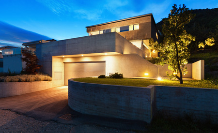 Architecture modern design, beautiful house, night scene Banco de Imagens
