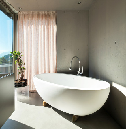 bathroom design: Modern house, detail bathroom, ceramic bathtub
