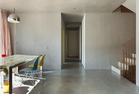 dining table: Interior modern house, dining room, concrete wall