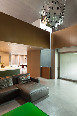 Modern living room, interior, house in cement photo