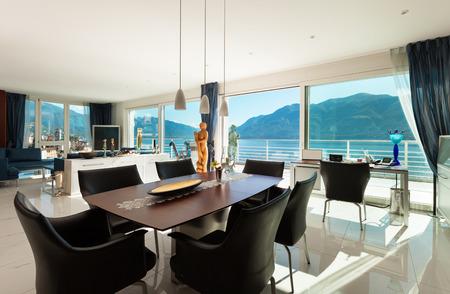 modern living room: Interior of modern apartment, wide living room