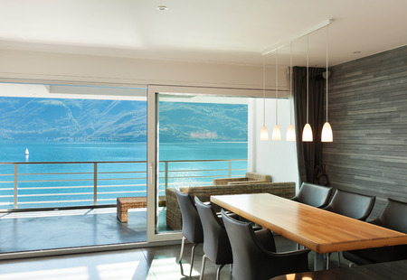 Interior of modern apartment, wide dining room Stockfoto