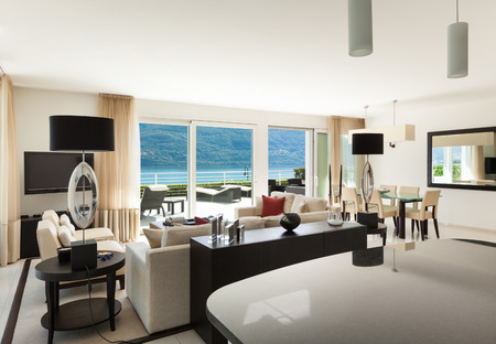 Interior of modern apartment, wide living room