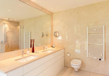 bathroom wall: Comfortable marble bathroom of a modern house