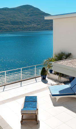 penthouse: beautiful terrace of a penthouse overlooking the lake outside