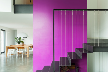 interior spaces: interior, lovely apartment, staircase view Stock Photo
