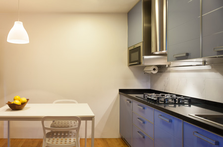 a kitchen: Nice apartment, interior, comfortable domestic kitchen