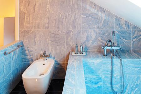 bathroom interior: Interior modern loft, blue bathroom