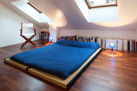 bedspread: Interior, nice loft, bed with bedspread blue