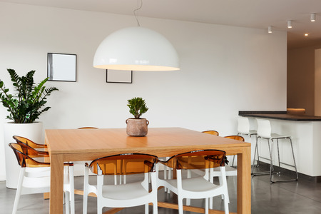 interior of lovely apartment furnished, dining room view 스톡 콘텐츠