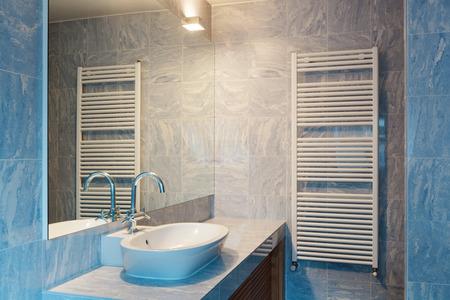 bathroom interior: Interior of modern loft blue bathroom