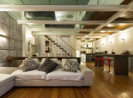 living room design: Architecture, wide loft with modern furniture, living room