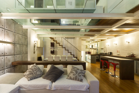 loft living: Architecture, wide loft with modern furniture, living room