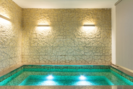 Modern Hotel Spa Interior With Hot Tub, Stone Wall Stock Photo, Picture And  Royalty Free Image. Image 39040703.