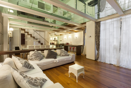lofts: wide loft with modern furniture in living room