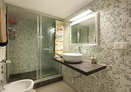 bath house: interior of home bathroom with shower