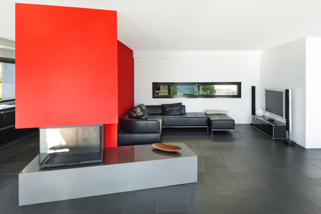 interior spaces: Interior of modern house living room with fireplace Stock Photo