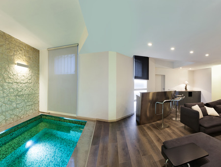 pool room: wide loft, living room with pool Stock Photo