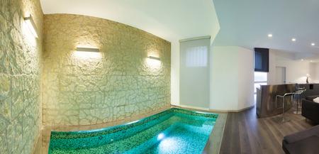 loft living: wide loft, living room with bath Stock Photo