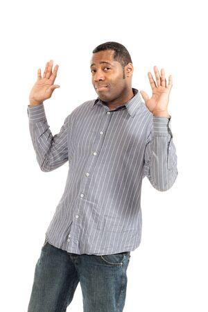 black man of african ethnicity, studio portrait, isolated on white background Stock Photo