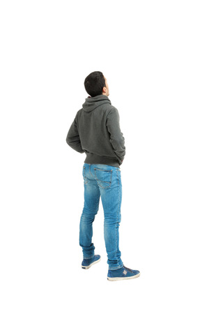 hoodie: Portrait of the young man isolated on a white background, back view