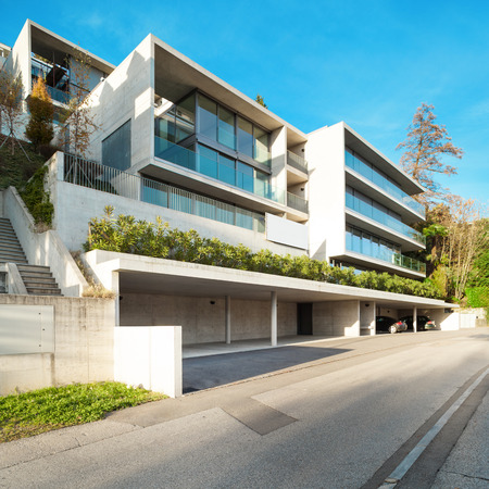 house facades: Modern architecture, building, view from outside Stock Photo