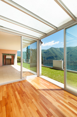 veranda: Interior apartment with garden, veranda