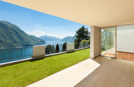 Interior apartment with garden, view from veranda Stock Photo
