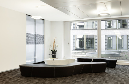 office ceiling: Interior, empty hall in modern building Stock Photo