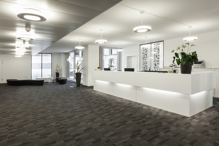 Empty reception hall in modern building Stock Photo