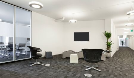 office entrance: Interior, empty hall in modern building Stock Photo