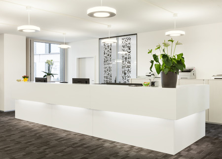 reception office: Empty reception hall in modern building Stock Photo