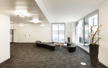 corporate office: Interior, empty hall in modern building Stock Photo