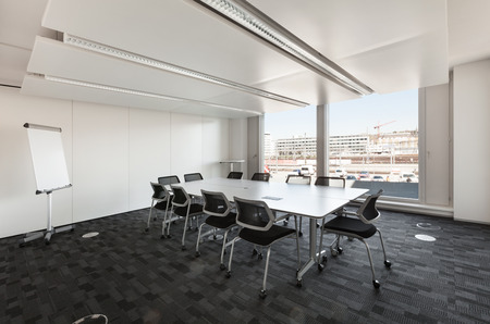 Building, interior, empty meeting room Imagens