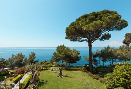 italia: sea, beautiful landscape from the garden of a villa, italia
